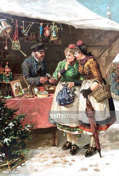 two young women looking for gifts at the christmas market - christmas past and christmas present stock illustrations
