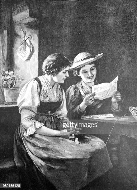 two young women reading a letter at the table - love letter stock illustrations, clip art, cartoons, & icons