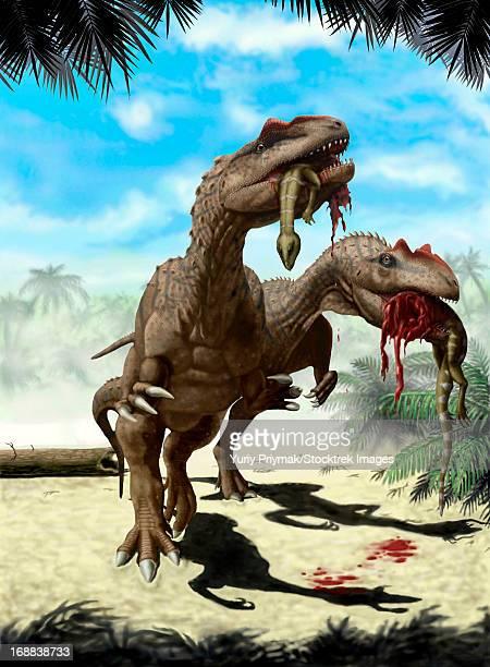 TwoAllosaurus europaeus with a Hypsilophodon foxii in mouth as its next meal.