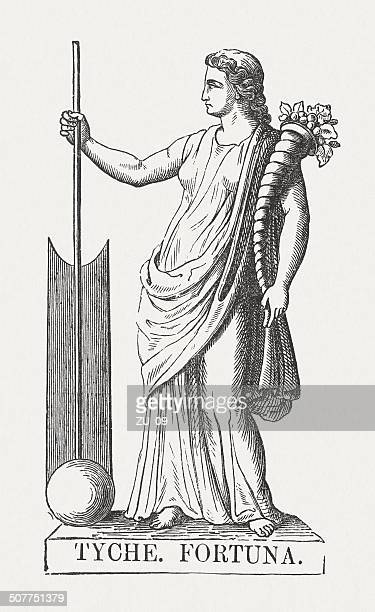 tyche, greek goddess of fortune, wood engraving, published in 1878 - goddess stock illustrations, clip art, cartoons, & icons