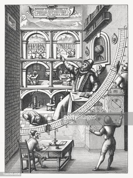 tycho brahe's large mural quadrant (1598), wood engraving, published 1897 - history stock illustrations