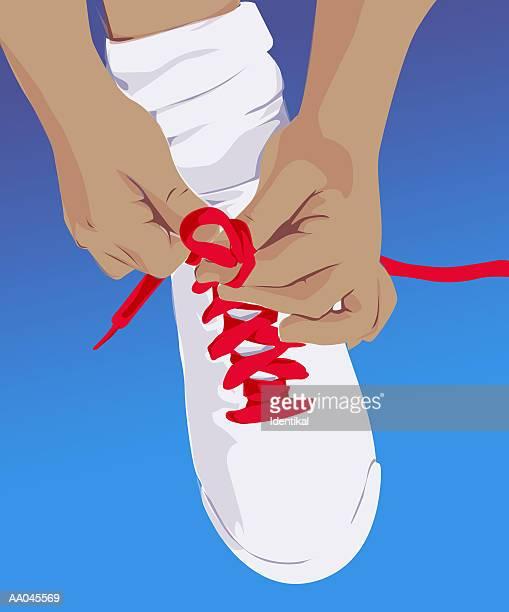 Tying shoe lace