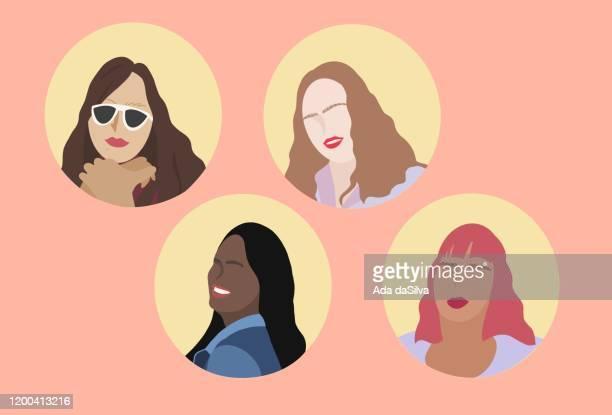 4 type of women image - businesswoman stock illustrations