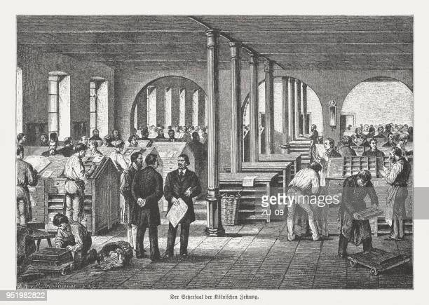 """Typesetters in the printing house """"Kölnische Zeitung"""", Germany, published 1888"""