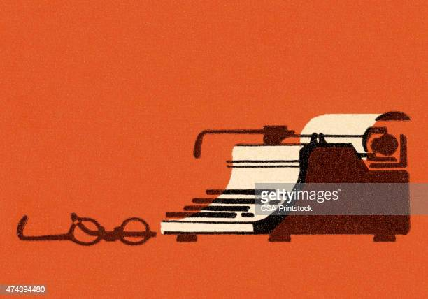 typewriter and glasses - authors stock illustrations