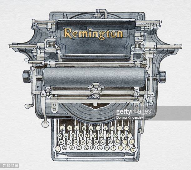 1874 typewriter, front view. - 1874 stock illustrations, clip art, cartoons, & icons