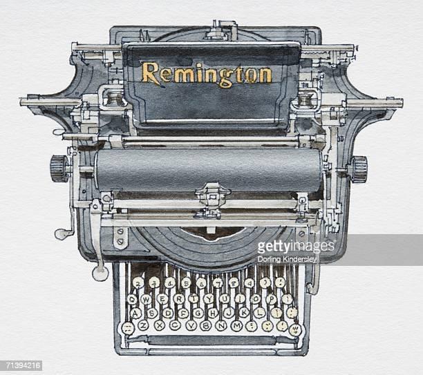 ilustraciones, imágenes clip art, dibujos animados e iconos de stock de 1874 typewriter, front view. - 1874