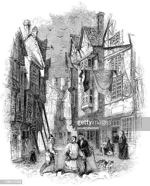 Typical Street in London, England - 15th Century