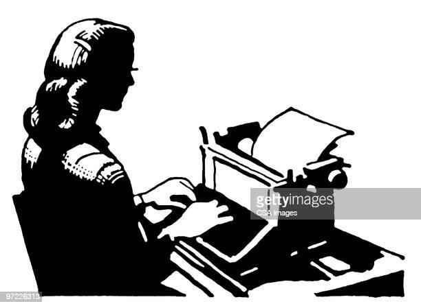 typist - report stock illustrations
