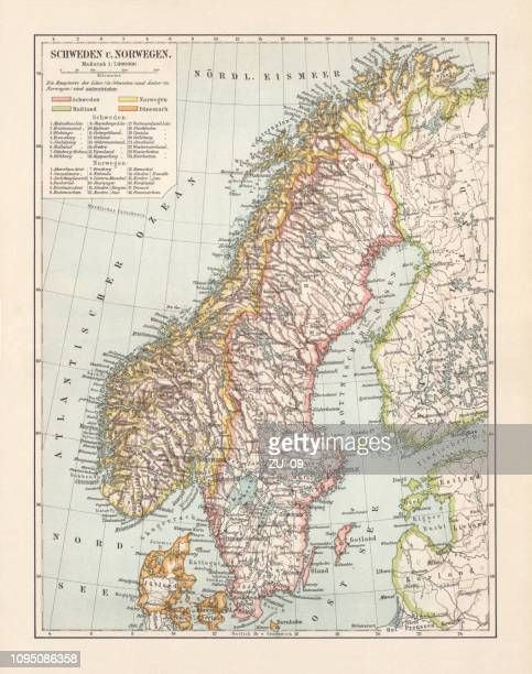 Typographic map of Sweden and Norway, lithograph, published in 1897