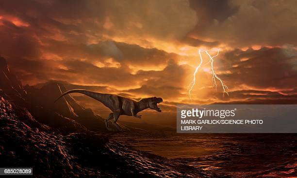 Tyrannosaur surveying desolate landscape
