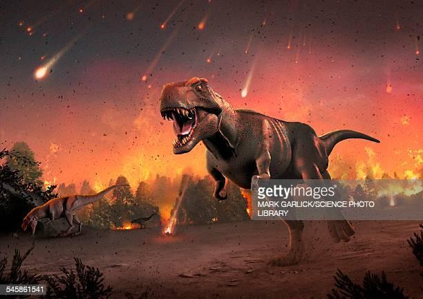 ilustraciones, imágenes clip art, dibujos animados e iconos de stock de tyrannosaurs fleeing a hail of meteorites - animal extinto