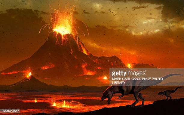 ilustraciones, imágenes clip art, dibujos animados e iconos de stock de tyrannosaurs survey a volcanic landscape - animal extinto