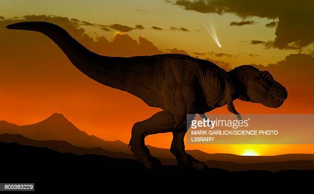 tyrannosaurus and comet - paleontology stock illustrations
