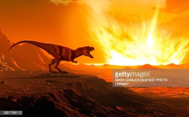 tyrannosaurus observing asteroid impact, illustration - theropod stock illustrations