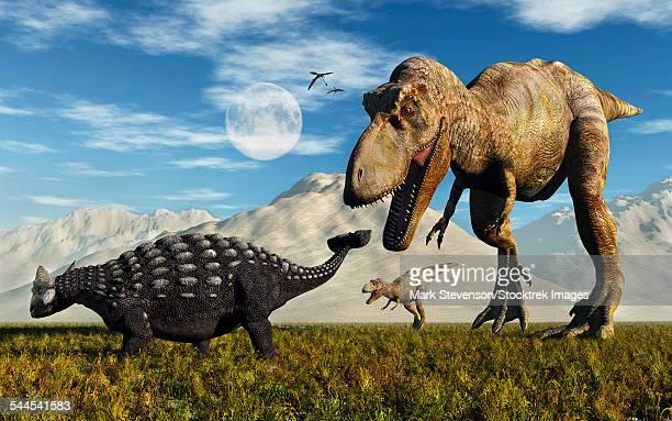 tyrannosaurus rex dinosaurs confronting a lone ankylosaurus. - scute stock illustrations, clip art, cartoons, & icons