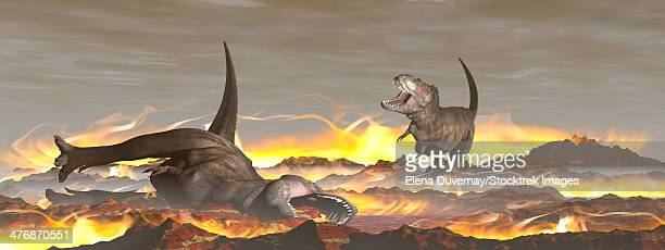Tyrannosaurus Rex dinosaurs dying from the heat and fire of a big meteorite crash.
