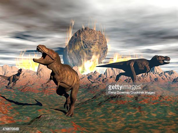 bildbanksillustrationer, clip art samt tecknat material och ikoner med tyrannosaurus rex dinosaurs escaping the heat and fire of a big meteorite crash. - paleolitico