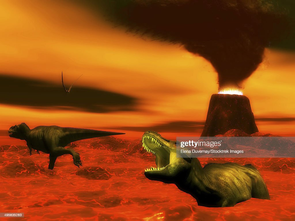 Tyrannosaurus Rex dinosaurs struggle to survive because of heat and fire from a volcanic eruption. : stock illustration
