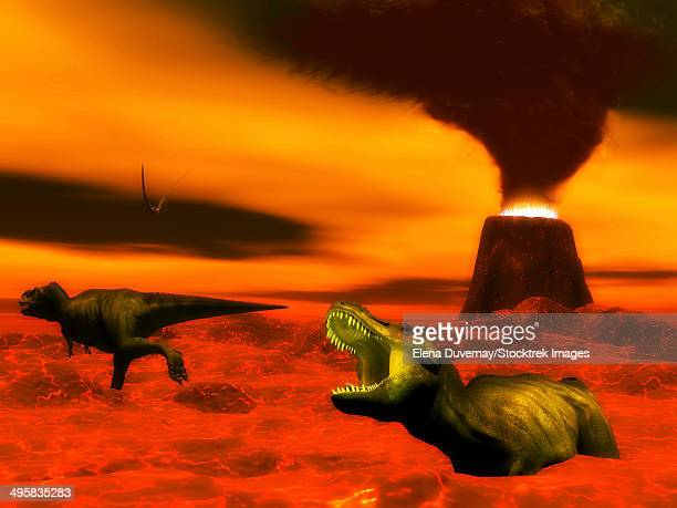 tyrannosaurus rex dinosaurs struggle to survive because of heat and fire from a volcanic eruption. - lava stock illustrations, clip art, cartoons, & icons