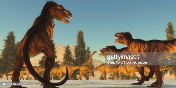 A Tyrannosaurus rex pack plans an attack on a herd of Uberabatitan dinosaurs.