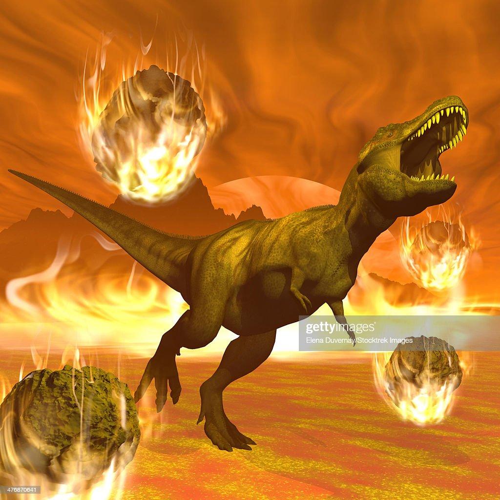 Tyrannosaurus Rex struggles to escape from a meteorite crash. : stock illustration