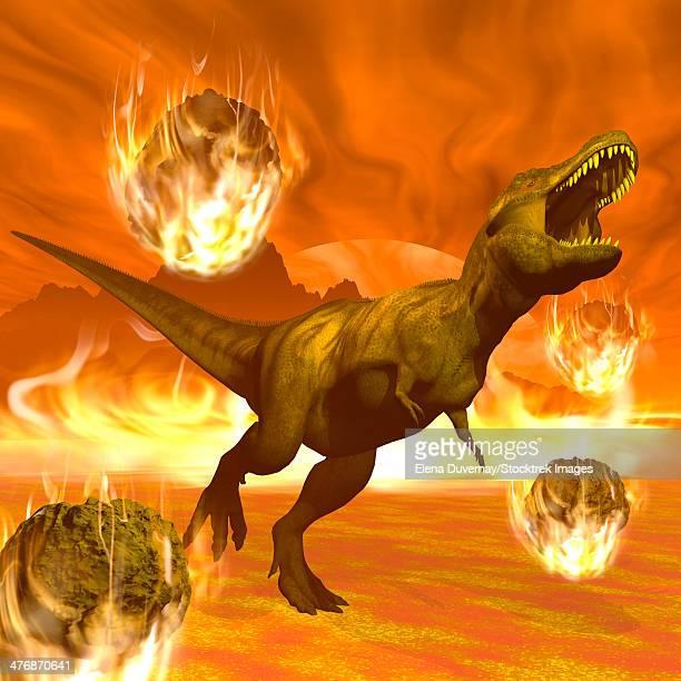 Tyrannosaurus Rex struggles to escape from a meteorite crash.