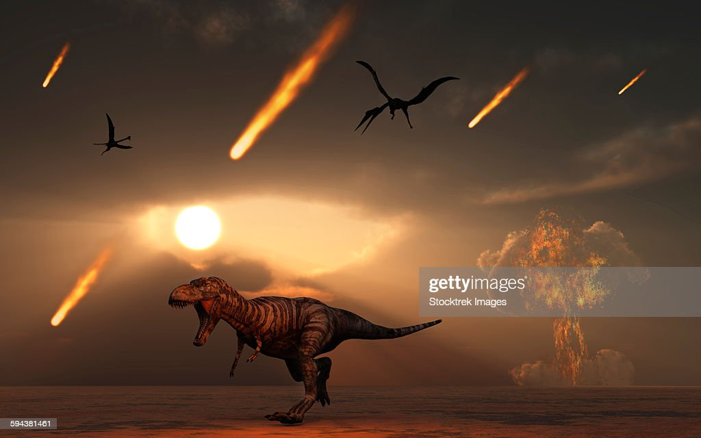 Tyrannosaurus Rex Tries To Escape A Giant Asteroid Impact At