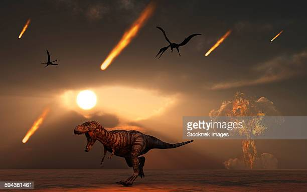 tyrannosaurus rex tries to escape a giant asteroid impact at chicxulub off the coast of mexico. - judgment day apocalypse stock illustrations, clip art, cartoons, & icons