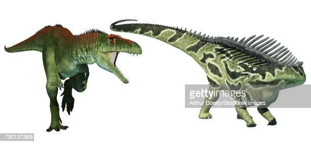 Tyrannotitan dinosaur attacking an Agustinia sauropod.