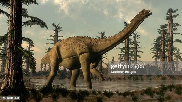 uberabatitan dinosaur walking in a prehistoric lake. - scute stock illustrations, clip art, cartoons, & icons