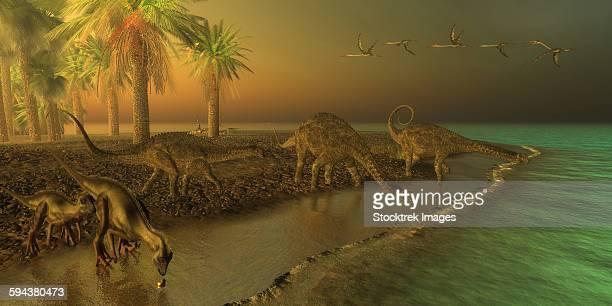 Uberabatitan dinosaurs share a Cretaceous seashore with two Hypsilophodon.