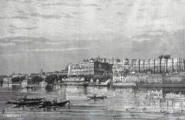udaipur lake view - udaipur stock illustrations