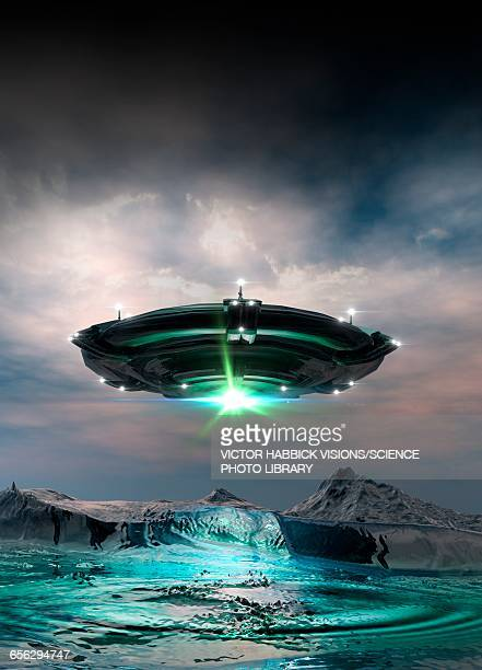 Ufo above planet surface, illustration