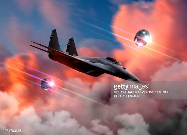 ufos and fighter jet, illustration - military stock illustrations