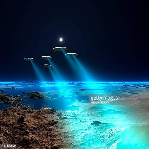 ufos over an alien planet, artwork - low angle view stock illustrations