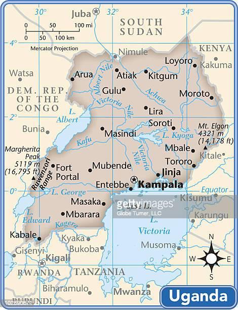 uganda country map - uganda stock illustrations, clip art, cartoons, & icons