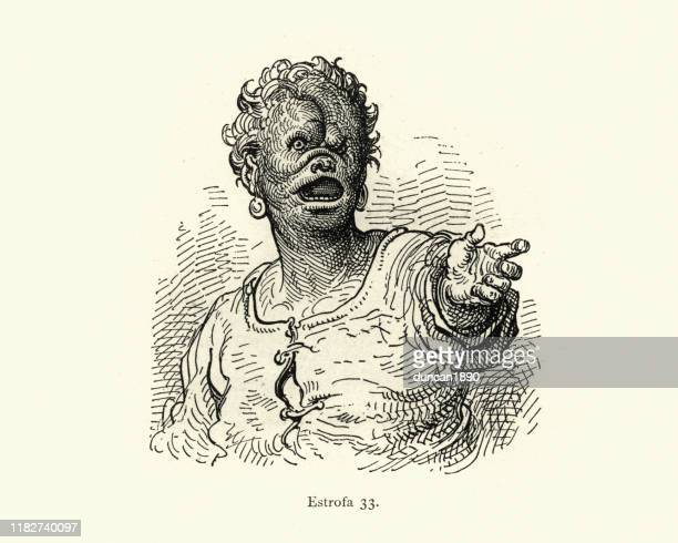 ugly deformed character monster. orlando furioso - genetic mutation stock illustrations