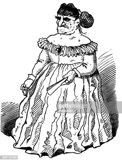 ugly man dressed as a woman has a fan in his hand - ugliness stock illustrations, clip art, cartoons, & icons