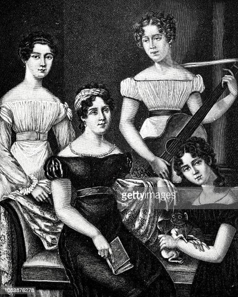illustrations, cliparts, dessins animés et icônes de ulrike von levetzow, ses soeurs et la mère, 1804-1899 - quatre personnes