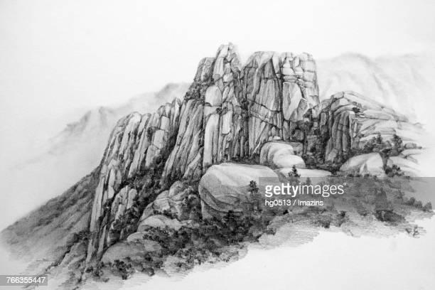 ulsan rock (famous travel destination in korea) pencil drawing - boulder rock stock illustrations, clip art, cartoons, & icons