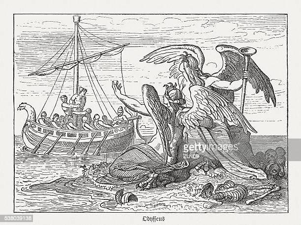 ulysses and sirens, greek mythology, wood engraving, published in 1880 - trojan war stock illustrations, clip art, cartoons, & icons