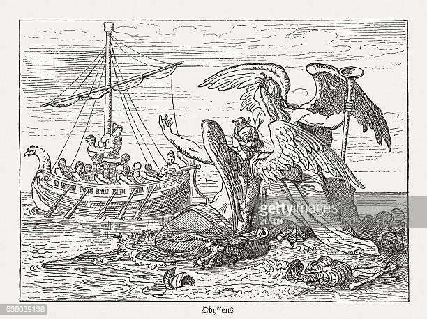 illustrations, cliparts, dessins animés et icônes de ulysse et sirènes, la mythologie grecque, des gravures, publié en 1880 - ulysse