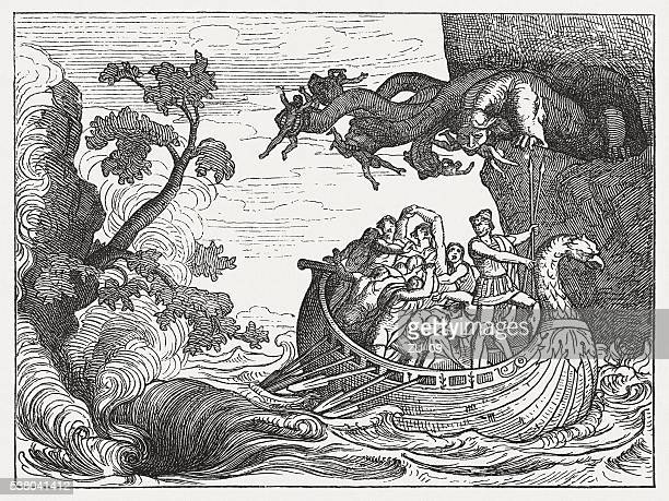 ulysses and the scylla, greek mythology, wood engraving, published 1880 - greek mythology stock illustrations