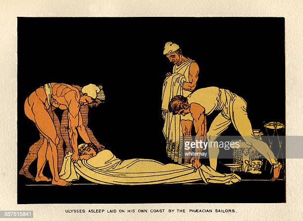 ulysses asleep and taken to ithaca by phaeacian sailors - trojan war stock illustrations, clip art, cartoons, & icons