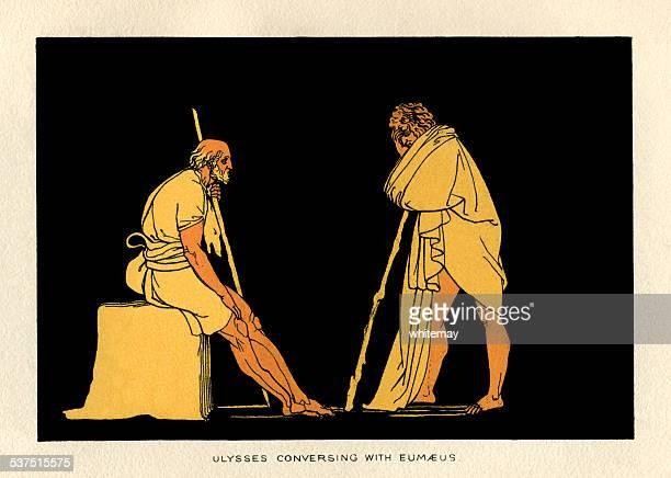 ulysses conversing with eumaeus - trojan war stock illustrations, clip art, cartoons, & icons