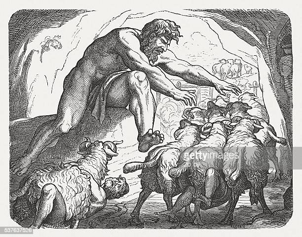 Ulysses escaping from the cave of the giant, Greek mythology
