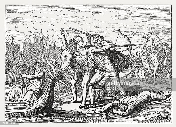 illustrations, cliparts, dessins animés et icônes de ulysse lutte contre la cicones, la mythologie grecque, publié en 1880 - ulysse