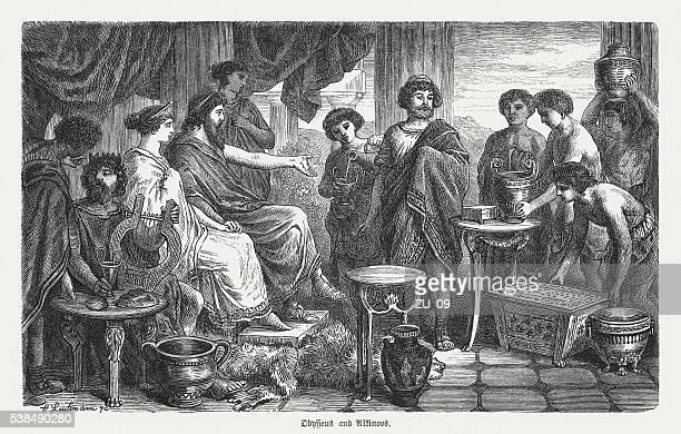 illustrations, cliparts, dessins animés et icônes de ulysse honorées par alkinoos, la mythologie grecque, des gravures, publié 1880 - ulysse