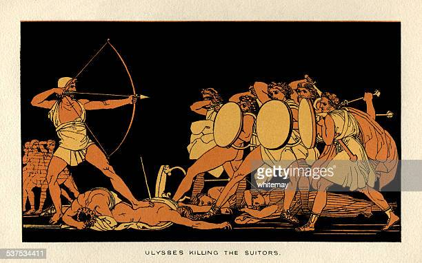 ulysses killing the suitors - greek mythology stock illustrations